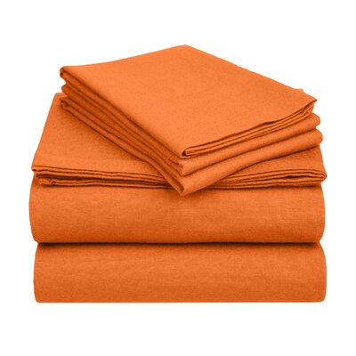 Wayfair Basics Flannel Sheet Set Size: Queen, Color: Pumpkin