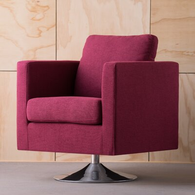 Elsmere Fabric Swivel Club Chair Upholstery: Deep Red