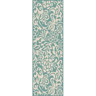 Gorton Aqua Indoor / Outdoor Area Rug Rug Size: Runner 27 x 73
