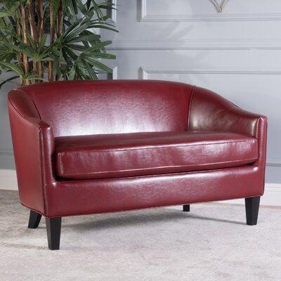 Elmore Loveseat Upholstery: Leather - Red