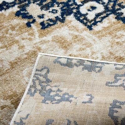Nde Transitional Medallion Blue/Beige Area Rug Rug Size: 22 x 311