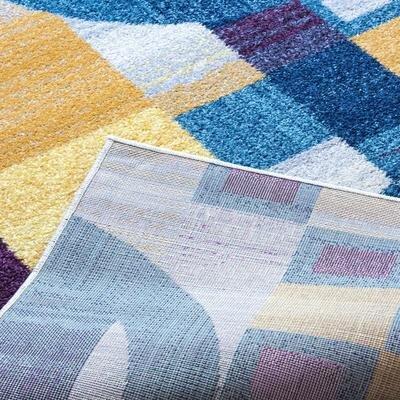 Merissa Modern Retro Gray/Blue Area Rug Rug Size: 53 x 73