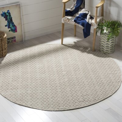 Wick St Lawrence Hand-Woven Cotton Ivory/Beige Area Rug Rug Size: Round 6
