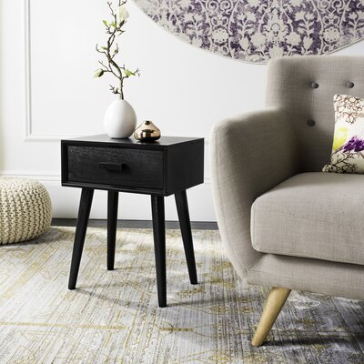 Audrick End Table With Storage Color: Black