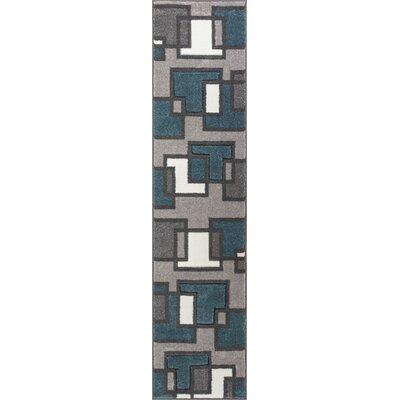 Scheel Squares Blue Area Rug Rug Size: Runner 18 x 7