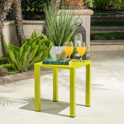 Fennia Outdoor Aluminum End Table Color: Lime Green