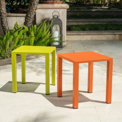 Fennia Square Outdoor Aluminum End Table Color: Orange and Lime Green