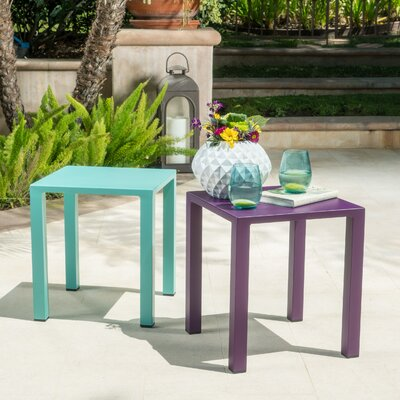 Fennia Square Outdoor Aluminum End Table Color: Teal and Purple