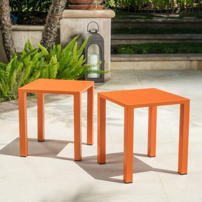 Fennia Square Outdoor Aluminum End Table Color: Orange