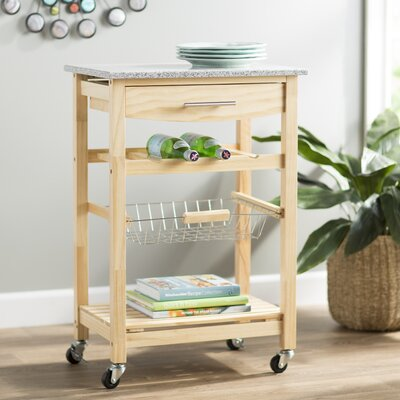 Flint Kitchen Cart with Granite Top Base Finish: Natural