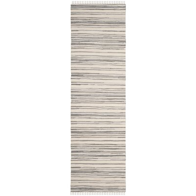 Shatzer Hand-Woven Ivory/Gray Area Rug Rug Size: Runner 23 x 8