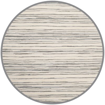 Shatzer Hand-Woven Ivory/Gray Area Rug Rug Size: Round 6