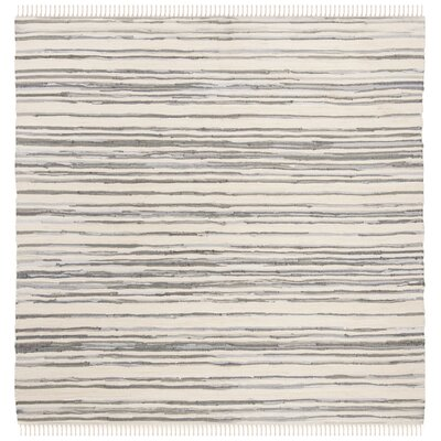 Shatzer Hand-Woven Ivory/Gray Area Rug Rug Size: Square 6