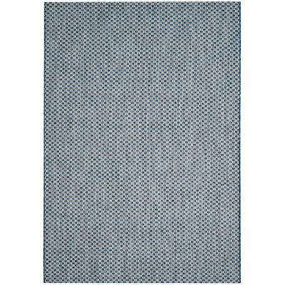 Jefferson Place Blue/Light Gray Outdoor Area Rug Color: Blue / Light Grey, Rug Size: Rectangle 53 x 77