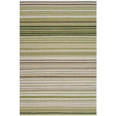 Jefferson Green Striped Contemporary Area Rug Rug Size: Rectangle 4 x 6