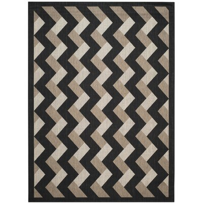 Holloway Black/Brown Indoor/Outdoor Area Rug Rug Size: Rectangle 8 x 11