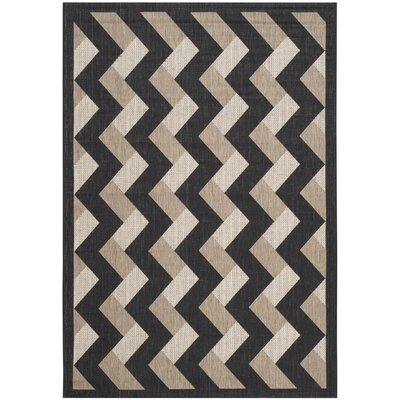 Holloway Black/Brown Indoor/Outdoor Area Rug Rug Size: Rectangle 53 x 77