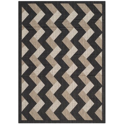 Holloway Black/Brown Indoor/Outdoor Area Rug Rug Size: Rectangle 4 x 57