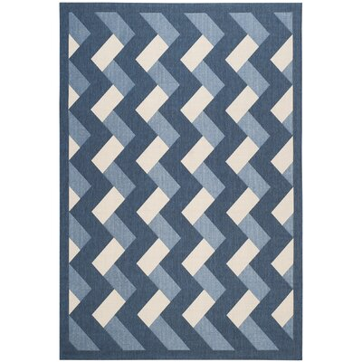 Holloway Navy/Beige Indoor/Outdoor Area Rug Rug Size: Rectangle 67 x 96