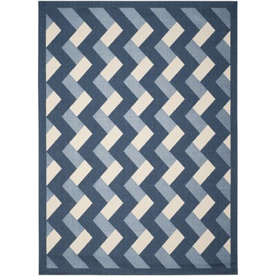 Holloway Navy/Beige Indoor/Outdoor Area Rug Rug Size: Rectangle 8 x 11
