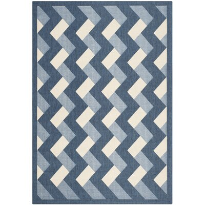 Holloway Navy/Beige Indoor/Outdoor Area Rug Rug Size: Rectangle 53 x 77