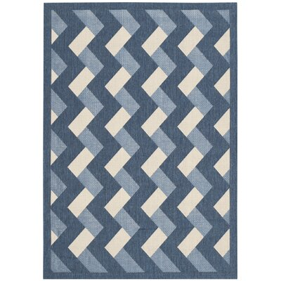 Holloway Navy/Beige Indoor/Outdoor Area Rug Rug Size: Rectangle 4 x 57