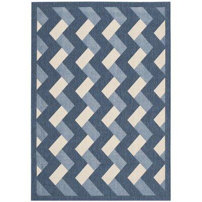 Holloway Navy/Beige Indoor/Outdoor Area Rug Rug Size: 4' x 5'7