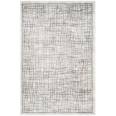 Schacher Silver/Ivory Area Rug Rug Size: Rectangle 4 x 6