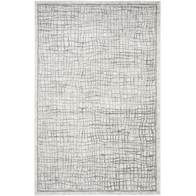 Schacher Silver/Ivory Area Rug Rug Size: Rectangle 6 x 9