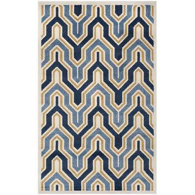 Seto Blue/Gold Indoor/Outdoor Area Rug Rug Size: Rectangle 3 x 5