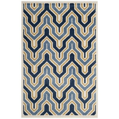 Seto Blue/Gold Indoor/Outdoor Area Rug Rug Size: Rectangle 4 x 6