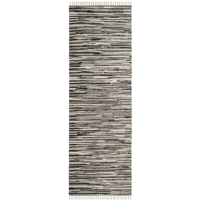 Shatzer Hand-Woven Black Area Rug Rug Size: Runner 23 x 8