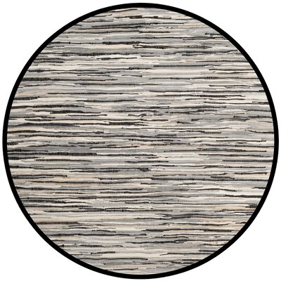 Shatzer Hand-Woven Black Area Rug Rug Size: Round 6