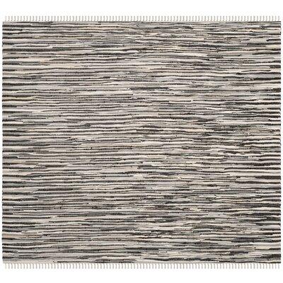 Shatzer Hand-Woven Black Area Rug Rug Size: Square 6