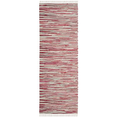 Shatzer Hand-Woven Red Area Rug Rug Size: Runner 23 x 8