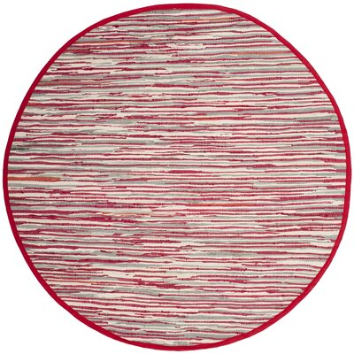 Shatzer Hand-Woven Red Area Rug Rug Size: Round 6