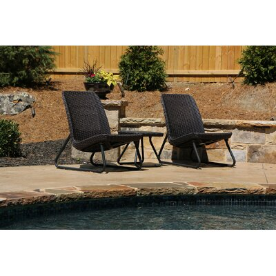 Cater All Weather 3 Piece Lounger Seating Set Color: Espresso Brown