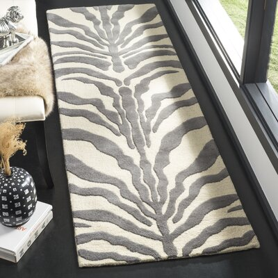 Roloff Ivory & Dark Gray Area Rug Rug Size: Runner 26 x 8