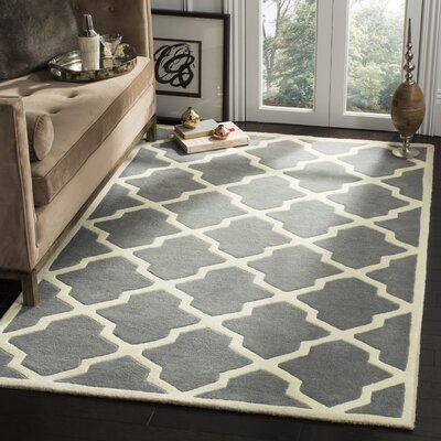 Wilkin Hand-Tufted Dark Gray/Ivory Area Rug Rug Size: Rectangle 5 x 8
