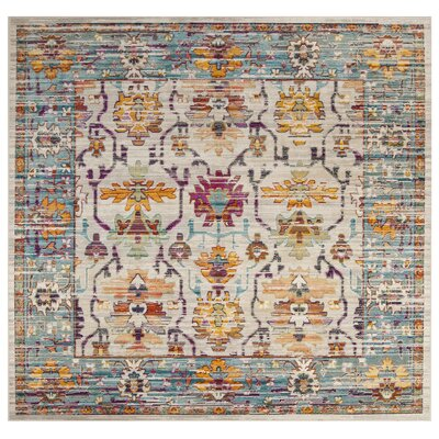 Aponte Cream/Teal Area Rug Rug Size: Square 7