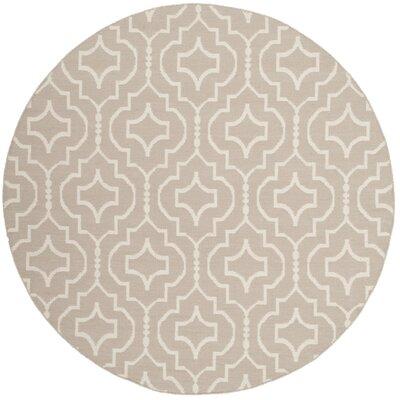 Rennie Hand-Woven Gray/Ivory Area Rug Rug Size: Round 6