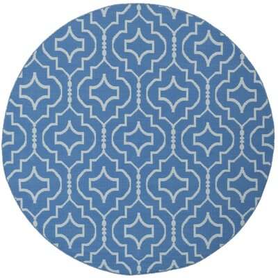 Rennie Hand-Woven Blue/Ivory Area Rug Rug Size: Round 6