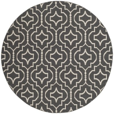 Rennie Hand-Woven Dark Gray/Ivory Area Rug Rug Size: Round 6'