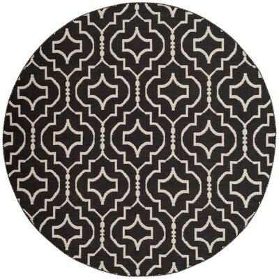 Rennie Hand-Woven Black/Ivory Area Rug Rug Size: Round 6'