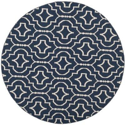 Rennie Hand-Woven Navy/Ivory Area Rug Rug Size: Round 6