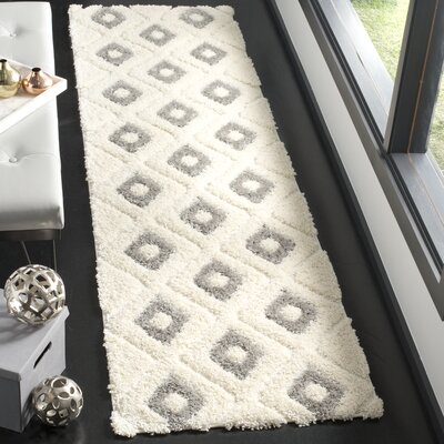 Helms Cream/Gray Area Rug Rug Size: Runner 23 x 8