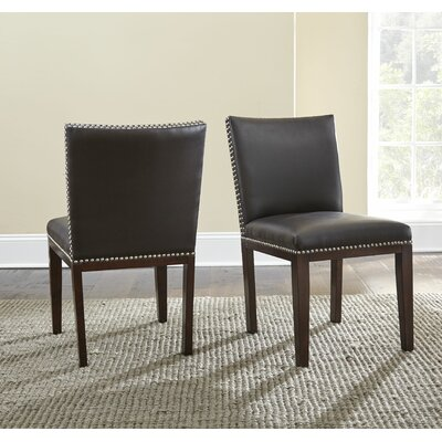 Bonded Leather Upholstered Dining Chair (Set of 2) Side Chair Upholstery: Grey