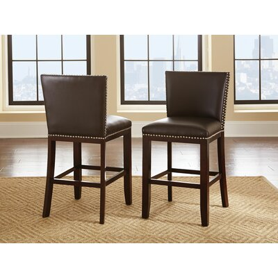 Bouwkamp 24 Bar Stool (Set of 2) Upholstery: Brown