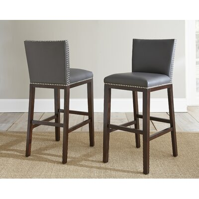 Bouwkamp 30 Bar Stool (Set of 2) Bar Stool Upholstery: Grey