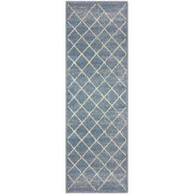 Verity Lattice Blue Area Rug Rug Size: Runner 27 x 8